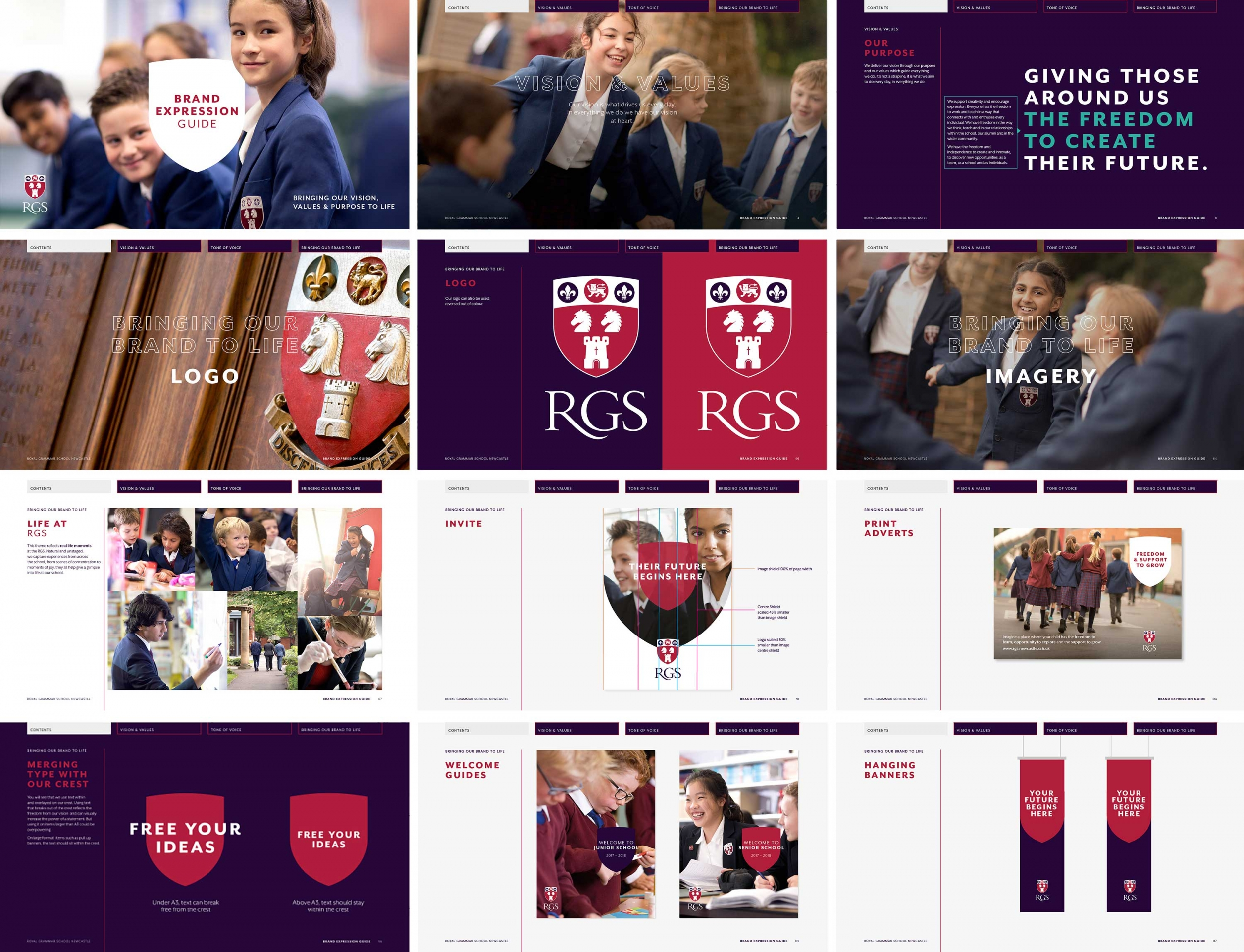 Independent school branding, brand guidelines, RGS Newcastle brand and visual identity by Altogether Creative.