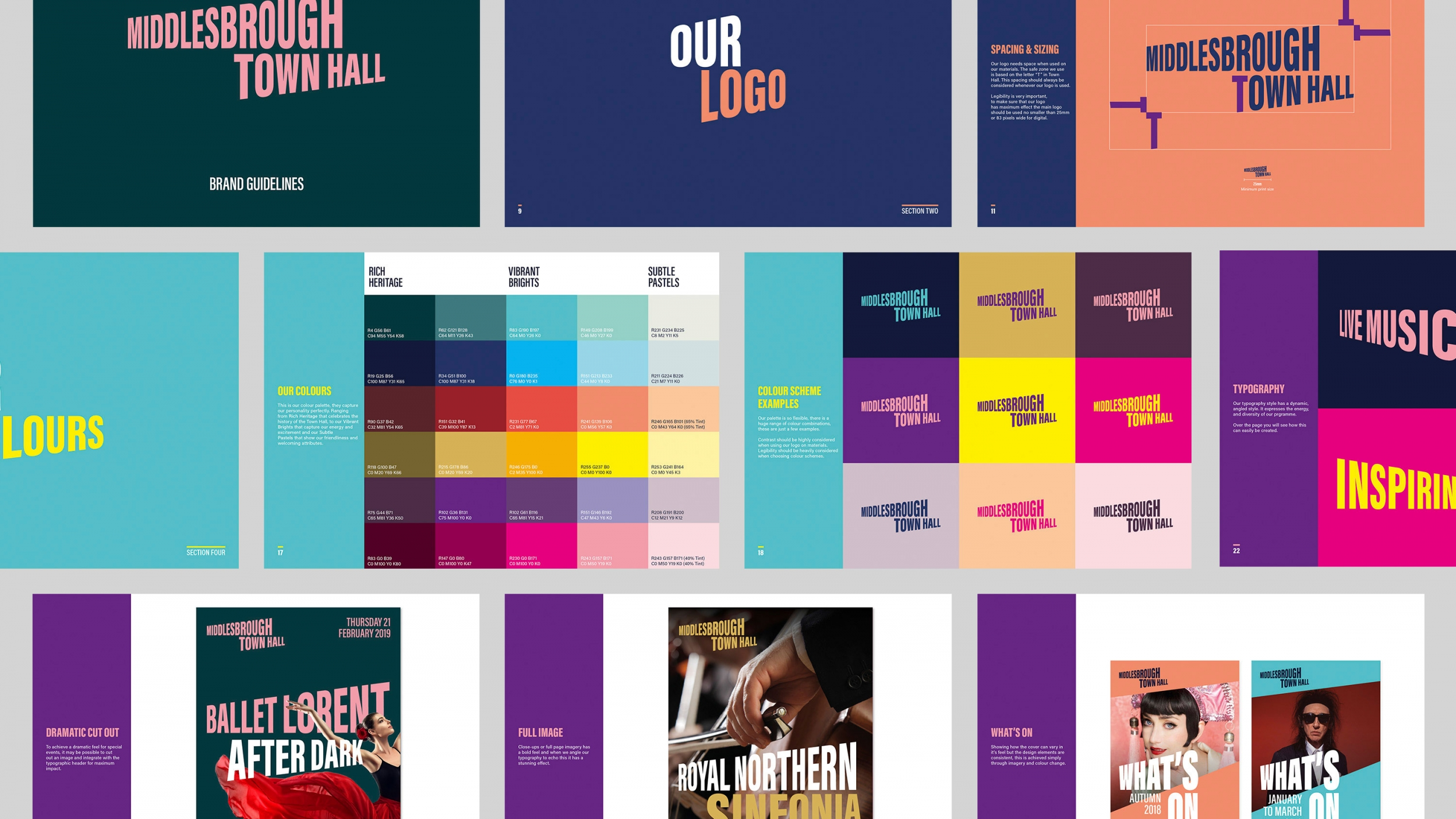 Brand guidelines and branding for Middlesbrough Town Hall.