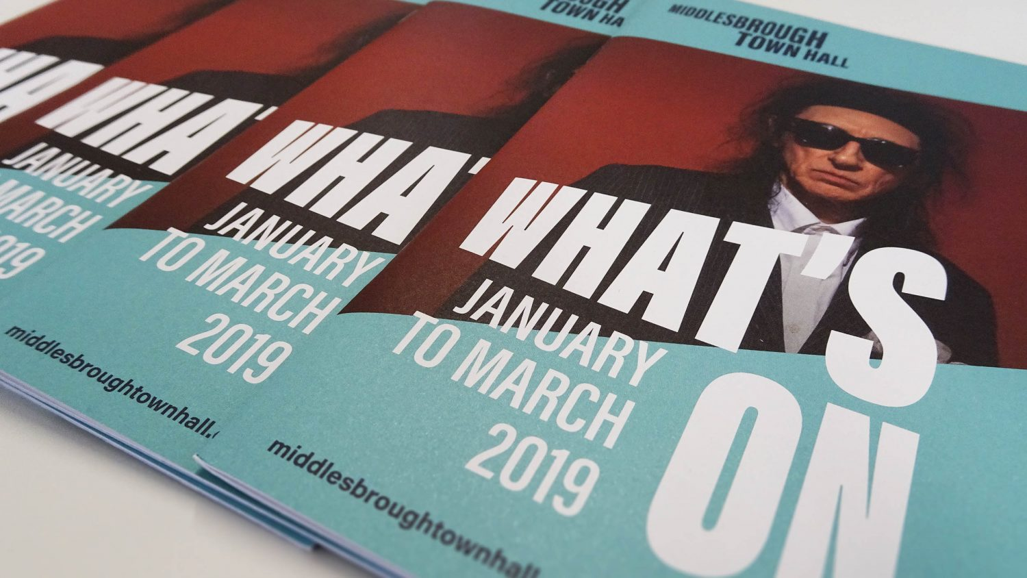 Branding and what's on guide for arts, culture and music venue Middlesbrough Town Hall by Altogether Creative.