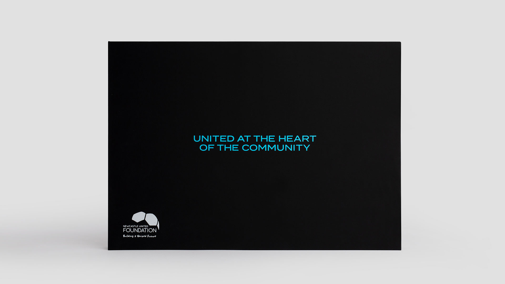Newcastle United Foundation Pitchside fundraising brochure, branding and narrative by Altogether Creative.