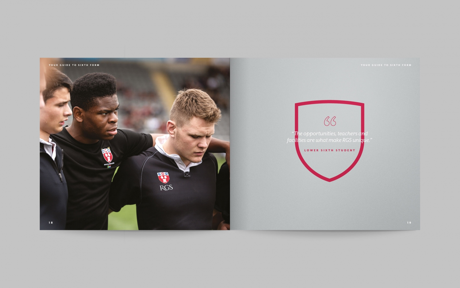 Independent school branding for RGS, Newcastle and Sixth Form brochure by Altogether Creative.