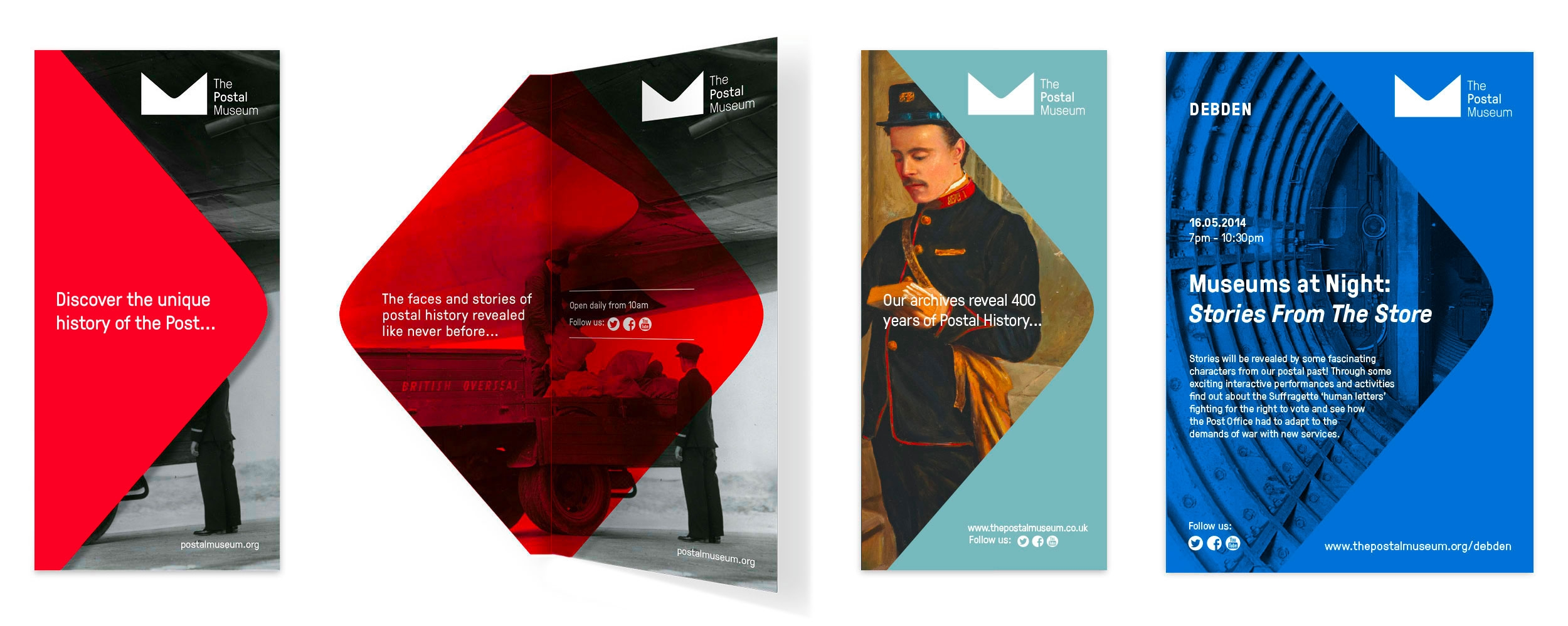 Museum leaflets and brand identity for The Postal Museum by Altogether Creative.
