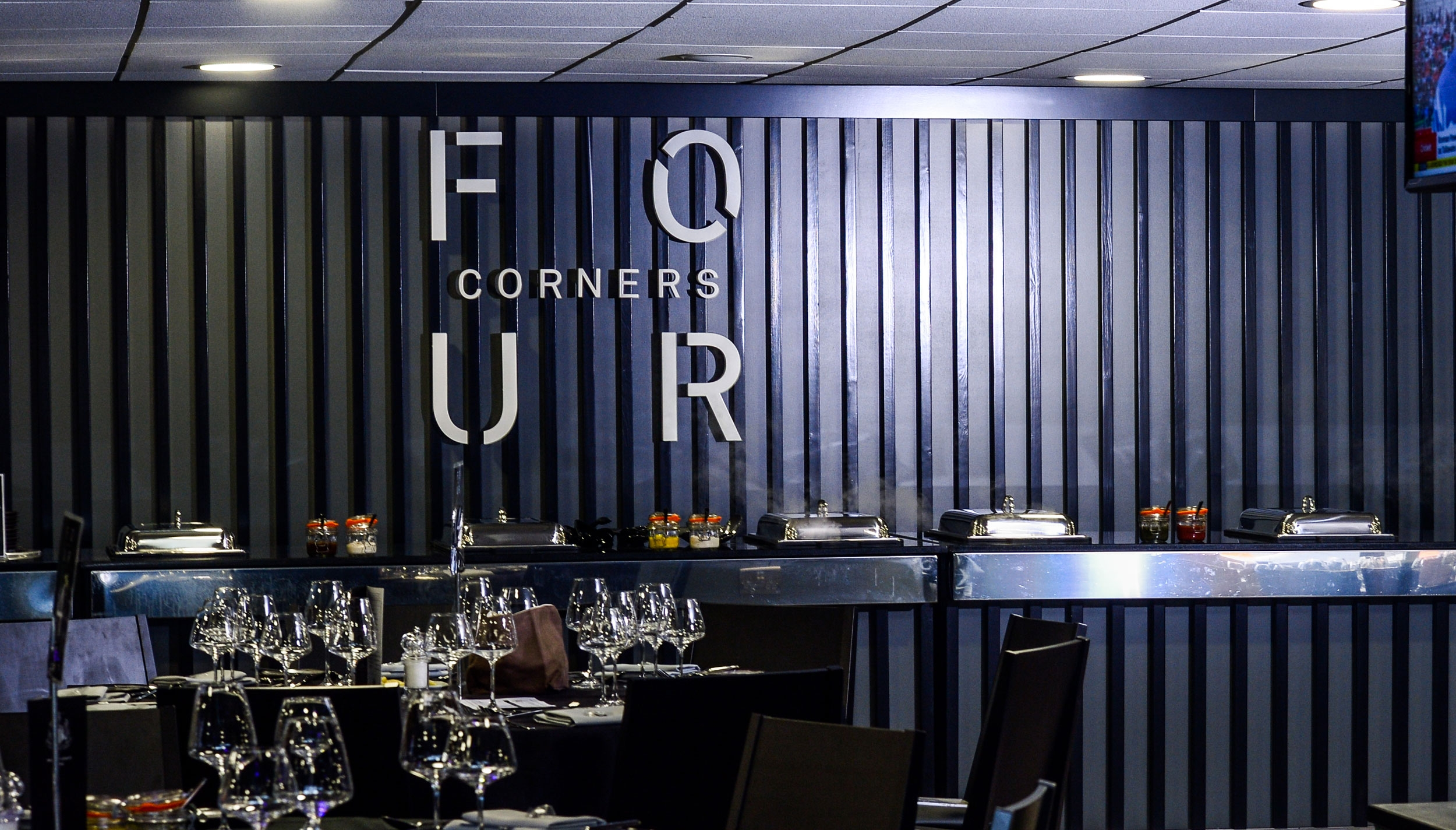 Restaurant branding and naming for Newcastle United FC Four Corners by Altogether Creative.