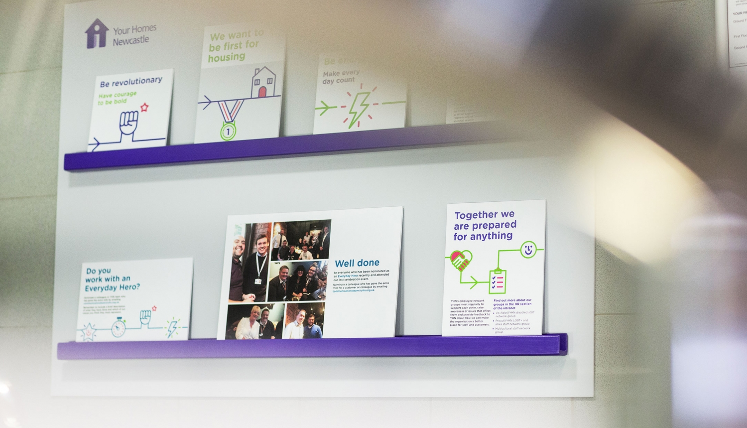 Brand values and office interior wall vinyls by Altogether Creative.