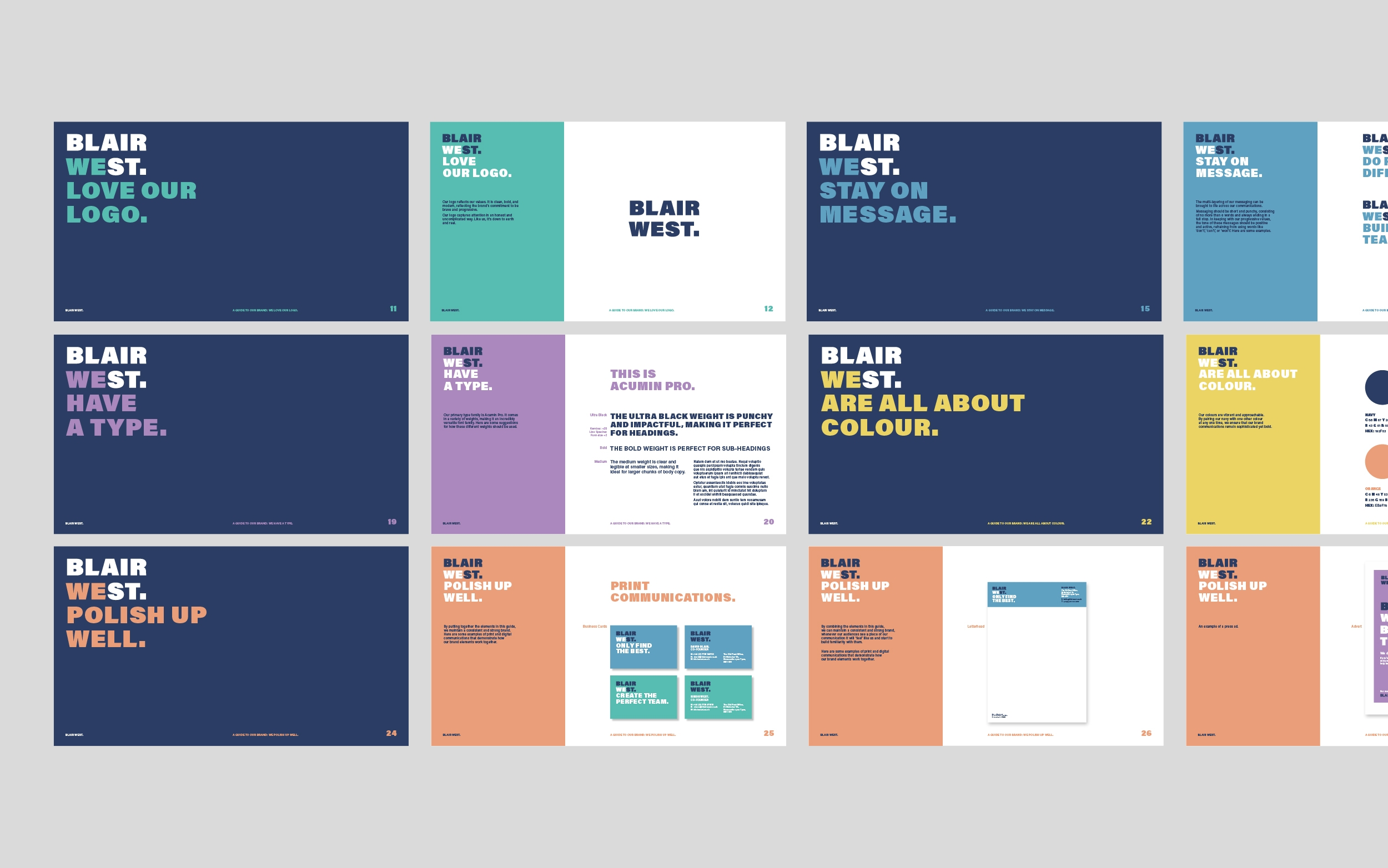 Blair West brand identity, brand guidelines and logo for recruitment agency by Altogether Creative.