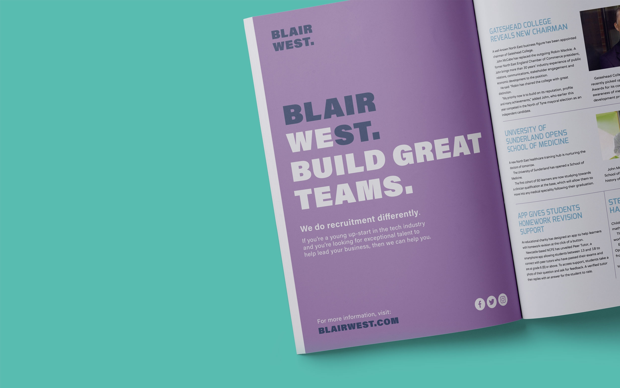 Blair West brand identity, logo, advertising campaign for recruitment agency by Altogether Creative.