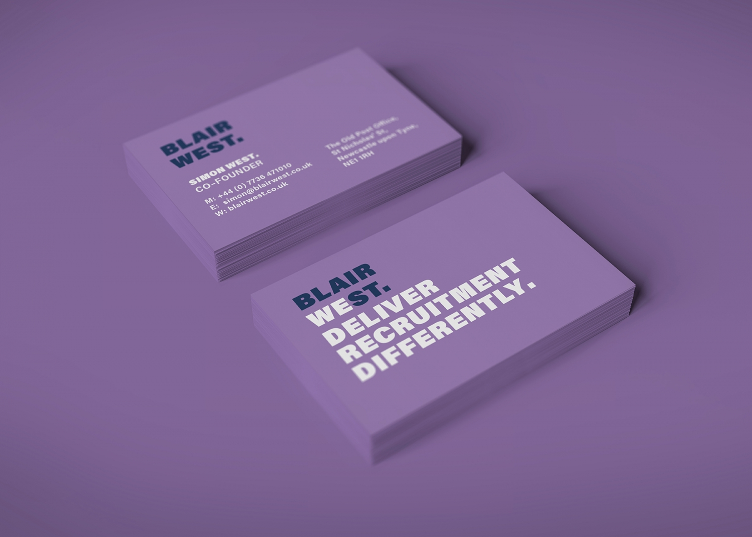 Blair West brand identity, logo and digital campaign for recruitment agency by Altogether Creative.