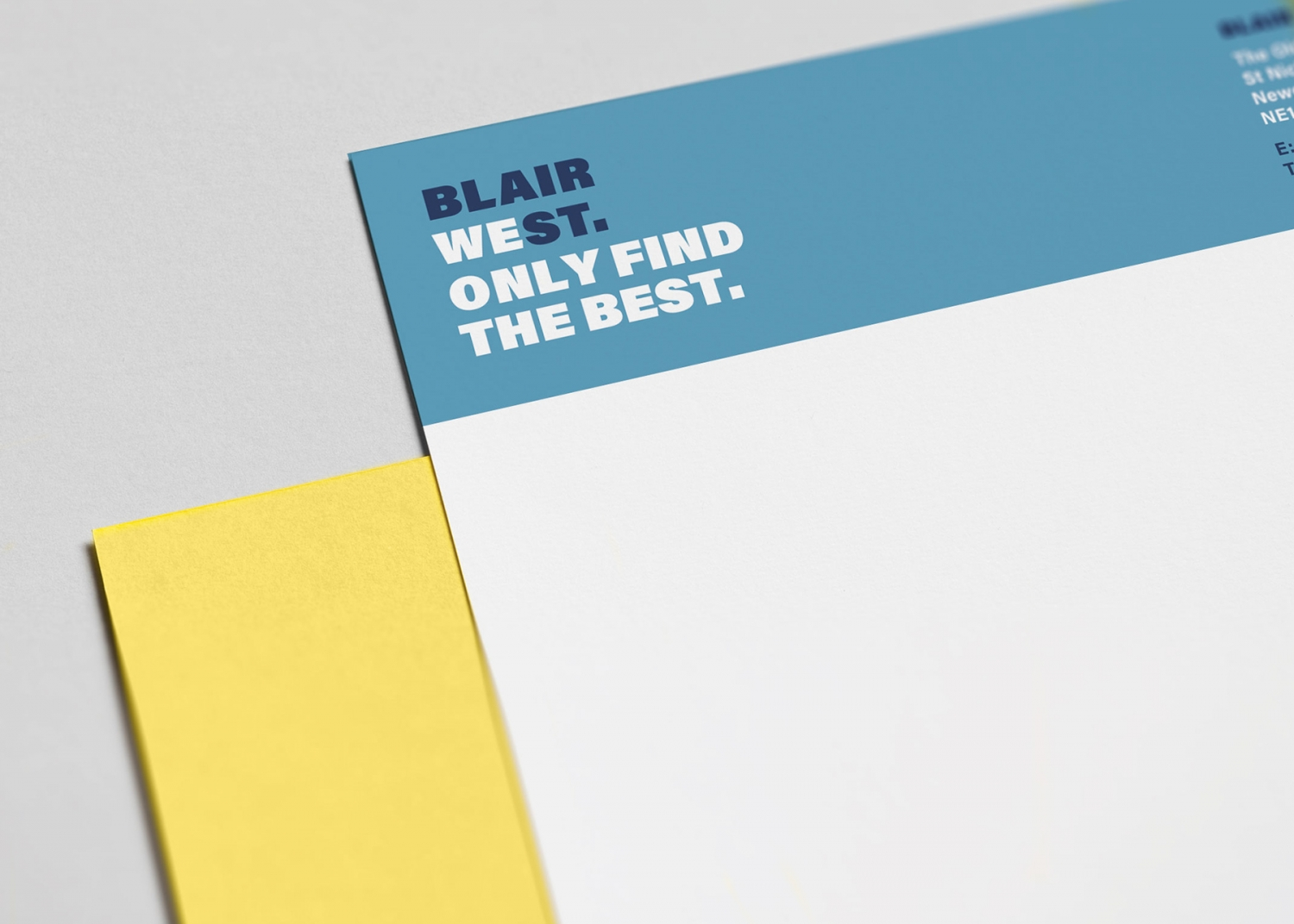 Blair West brand identity, logo and stationery for recruitment agency by Altogether Creative.