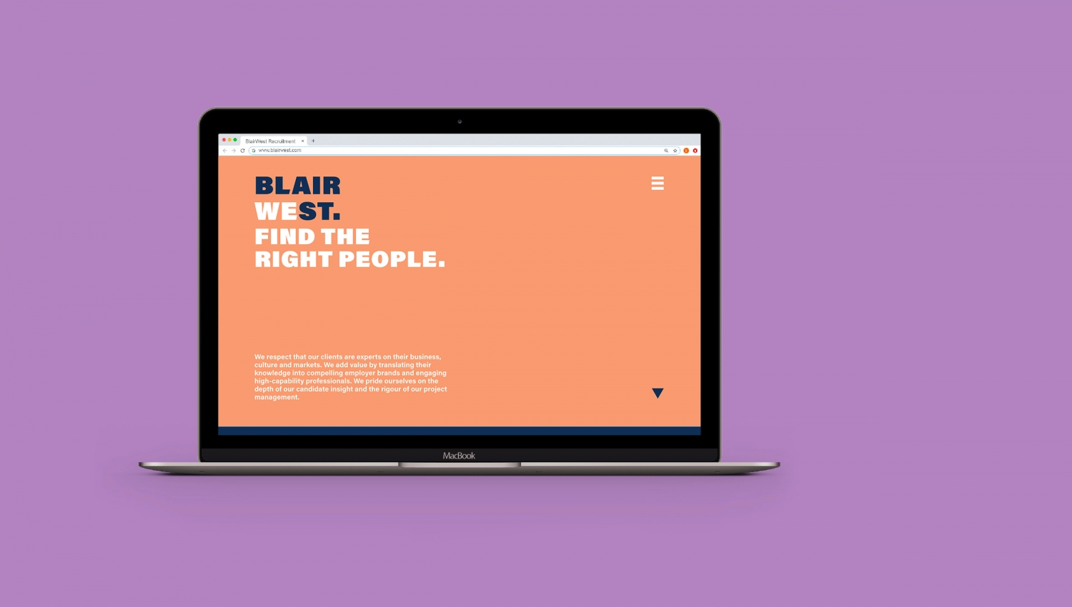 Blair West recruitment agency brand identity and website by Altogether Creative.
