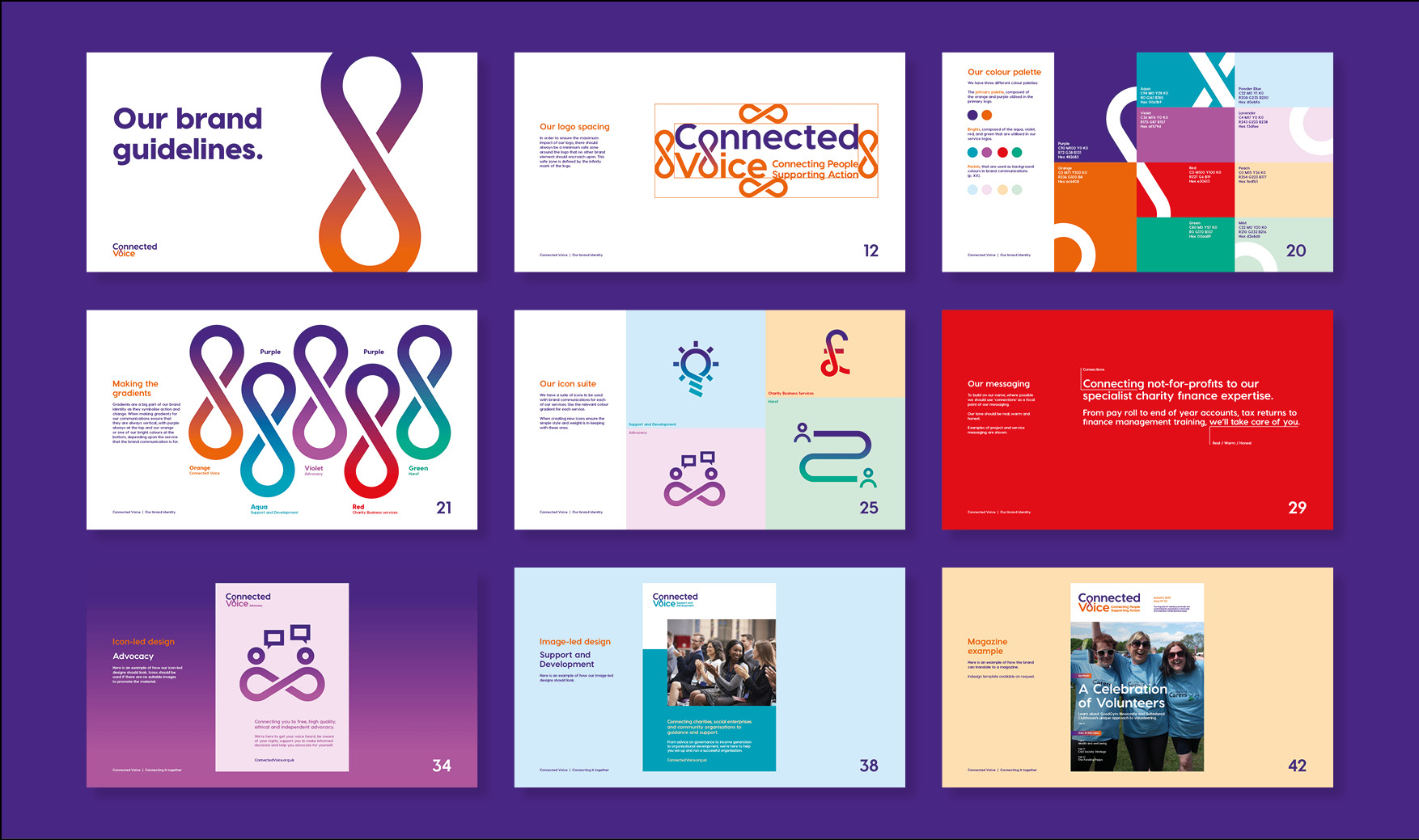 Connected Voice Newcastle charity brand guidelines for regional cvs by Altogether creative.