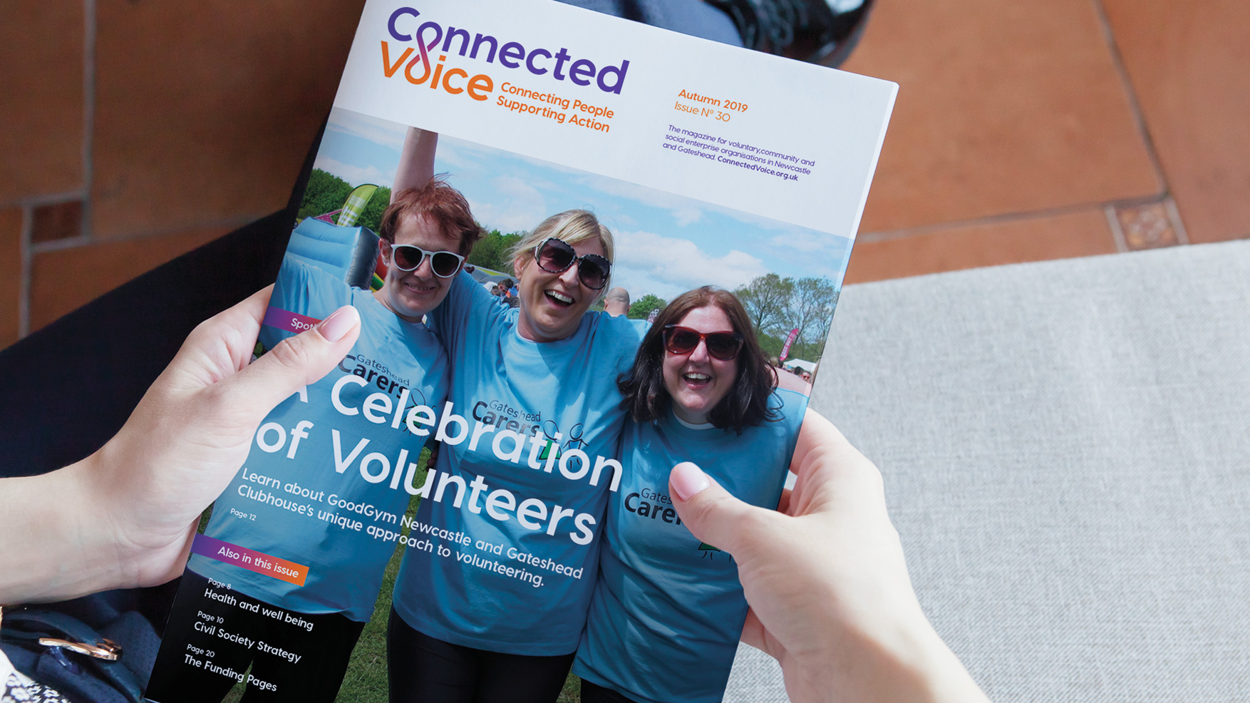 Connected Voice Newcastle charity brand, charity magazine and logo for regional cvs by Altogether creative.