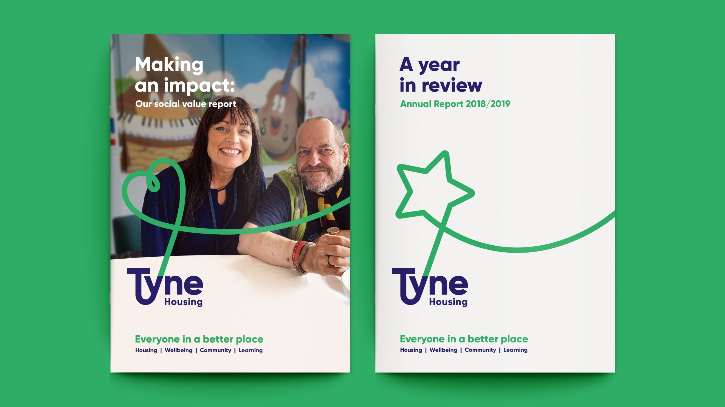 Tyne Housing association annual report and social impact report and branding by Altogether Creative.