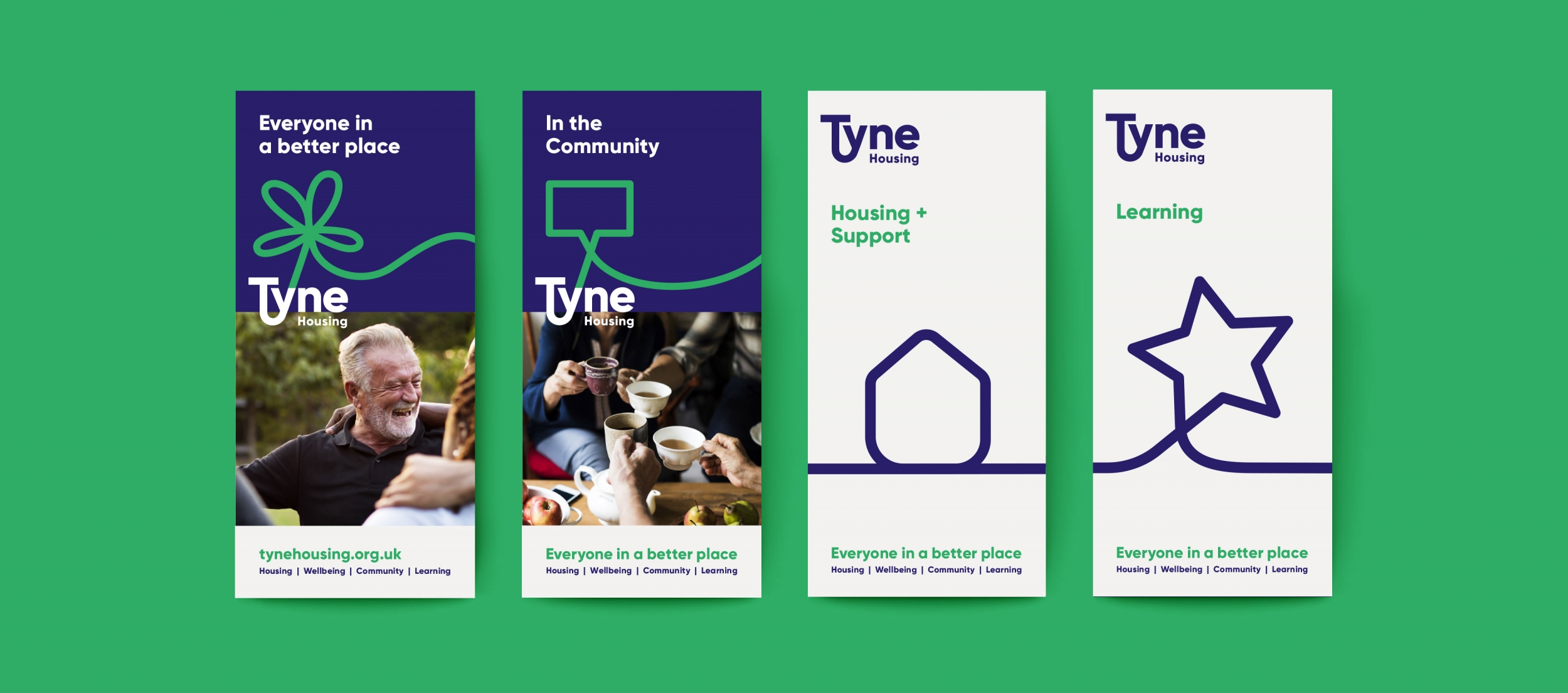 Tyne Housing association branding, leaflets and communications by Altogether Creative.