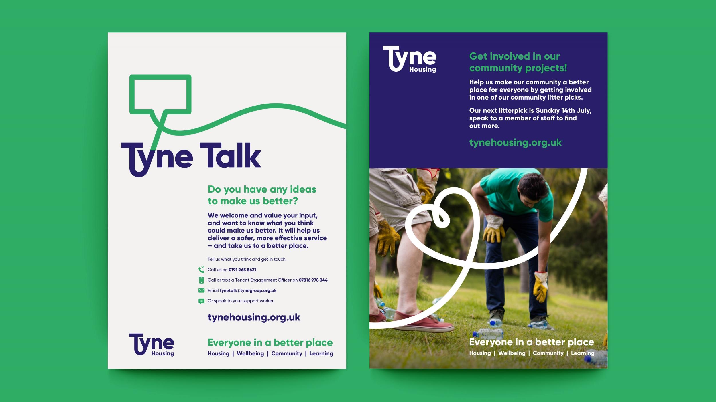 Tyne Housing association branding, logo and marketing communications by Altogether Creative.