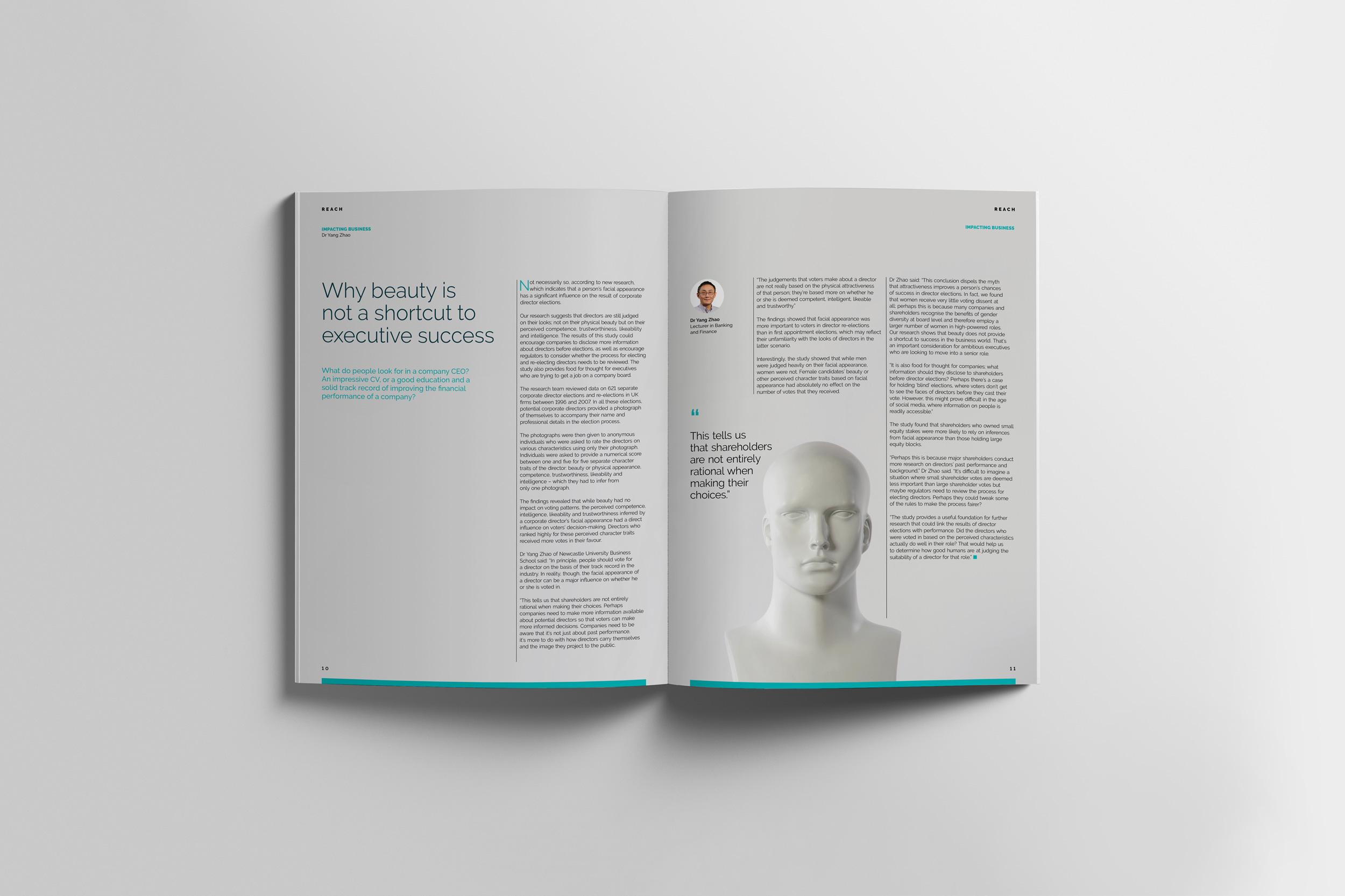 Newcastle University Business School Alumni magazine design and editorial design by Altogether Creative.